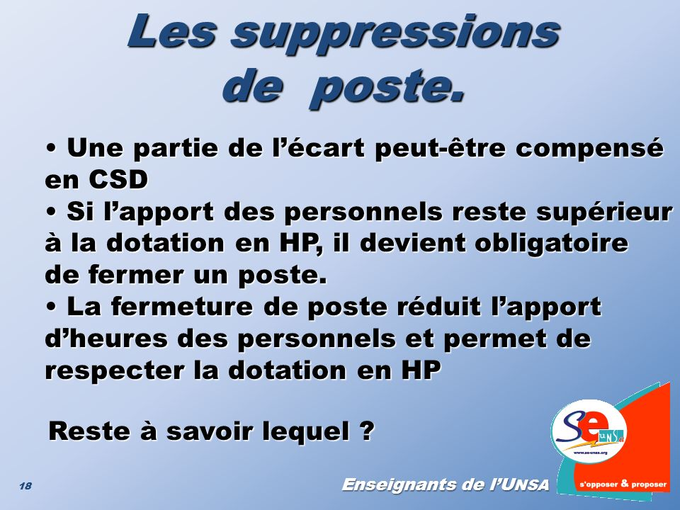Les suppressions de poste.