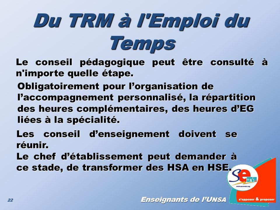Du TRM à l Emploi du Temps