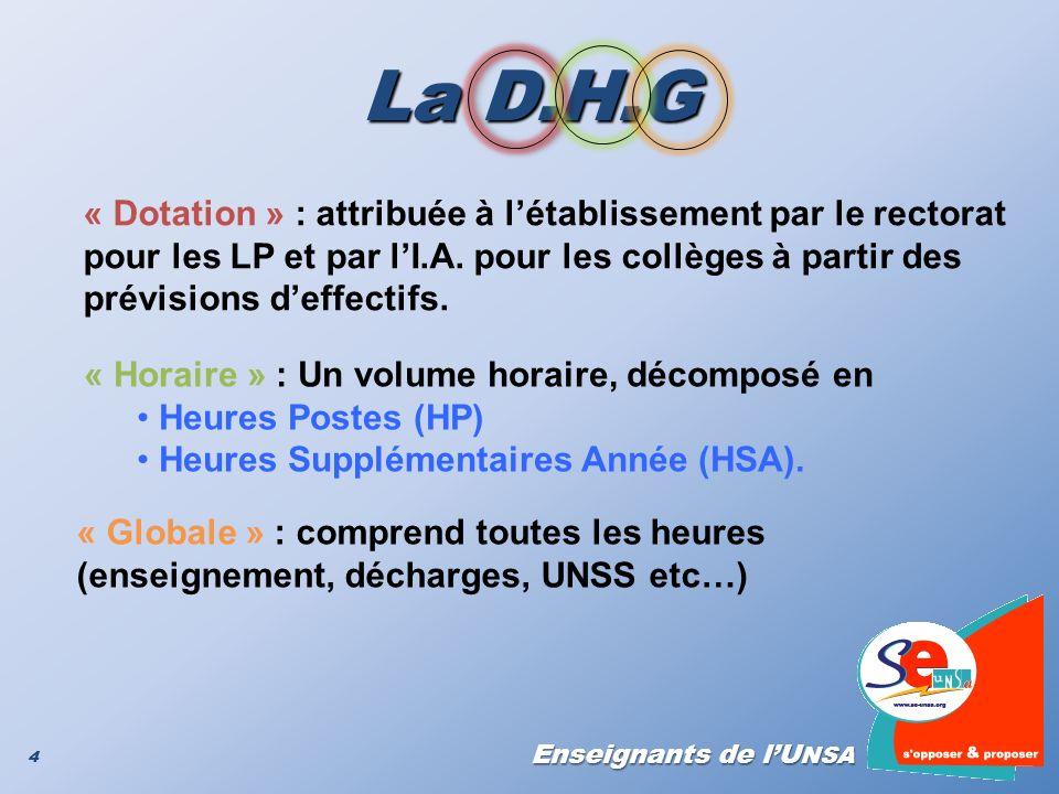 La D.H.G « Dotation » : attribuée à l'établissement par le rectorat pour les LP et par l'I.A. pour les collèges à partir des prévisions d'effectifs.