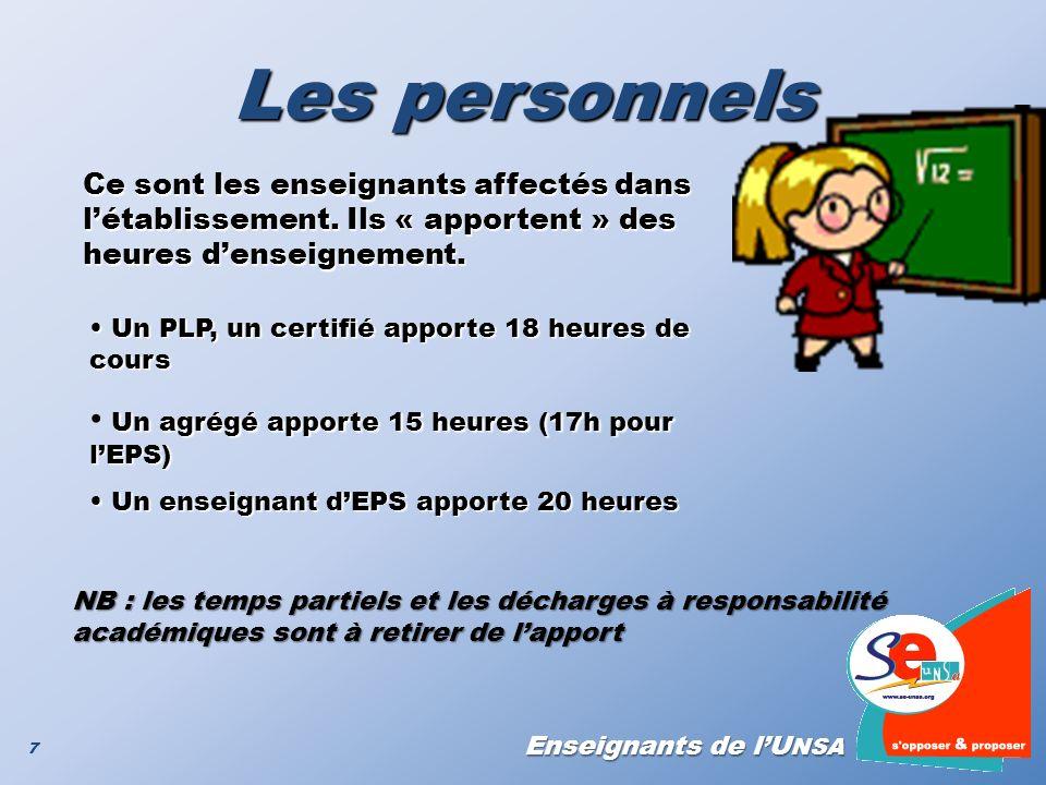 Les personnels Un agrégé apporte 15 heures (17h pour l'EPS)