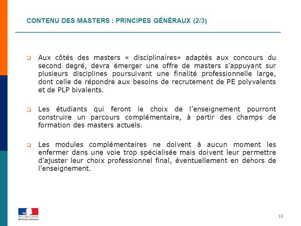Contenu des masters : principes généraux (2/3)