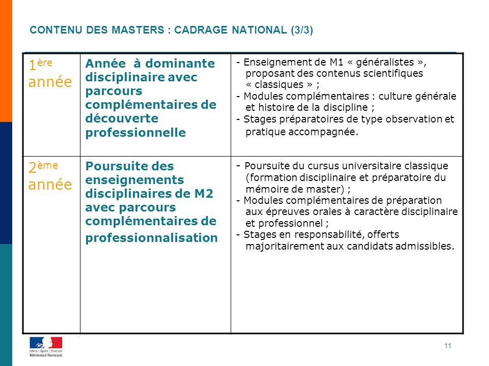 Contenu des masters : cadrage national (3/3)