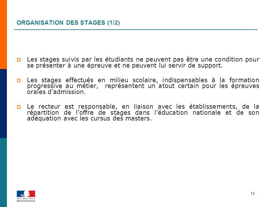Organisation des Stages (1/2)
