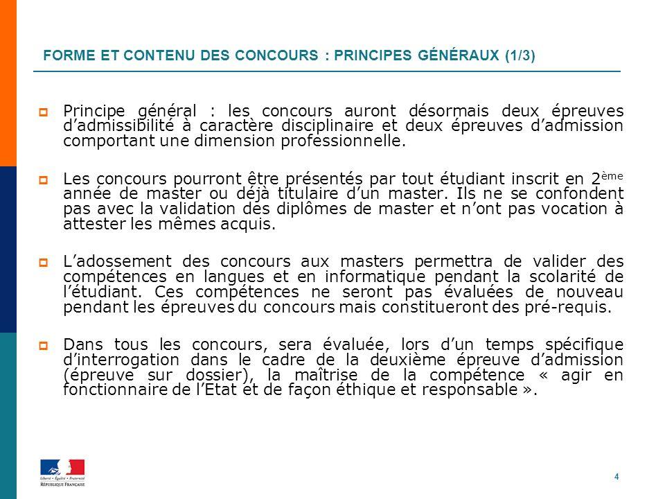 Forme et contenu des concours : principes généraux (1/3)