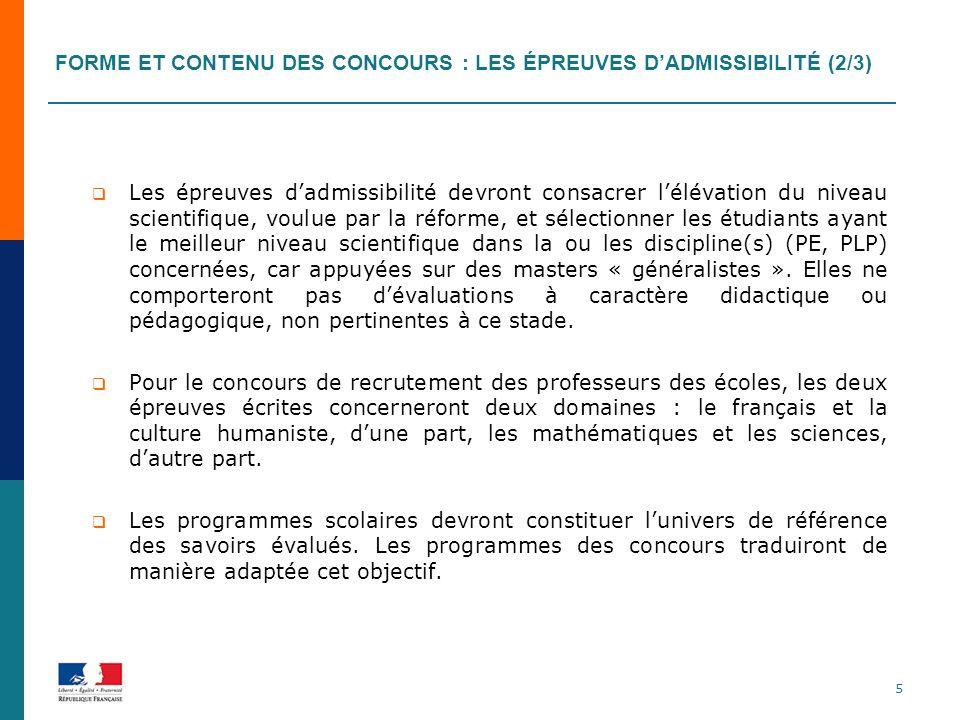 Forme et contenu des concours : les épreuves d'admissibilité (2/3)