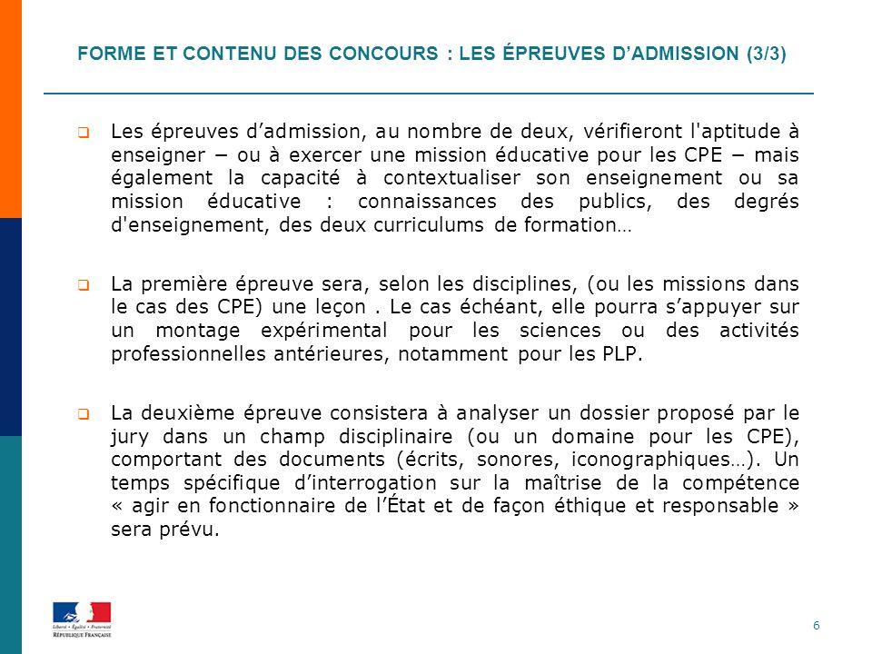 Forme et contenu des concours : les épreuves d'admission (3/3)