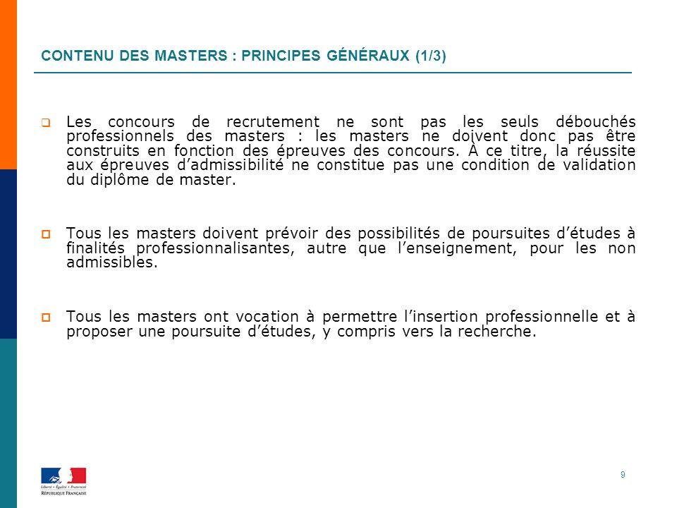 Contenu des masters : principes généraux (1/3)