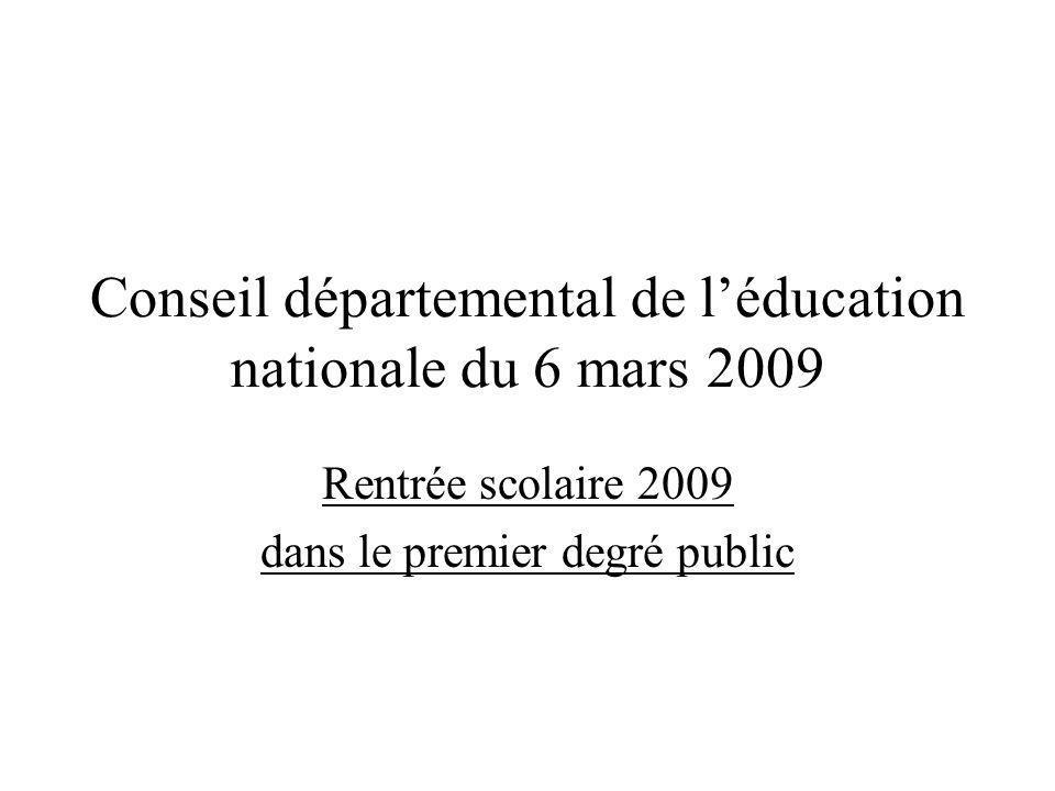 Conseil départemental de l'éducation nationale du 6 mars 2009