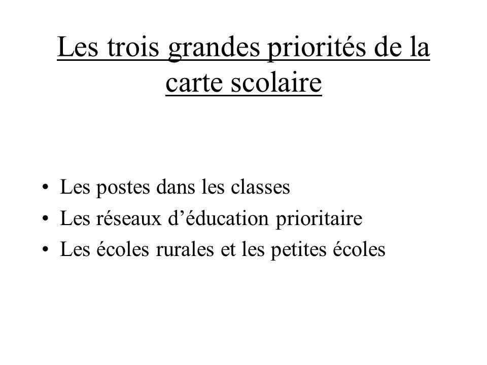 Les trois grandes priorités de la carte scolaire