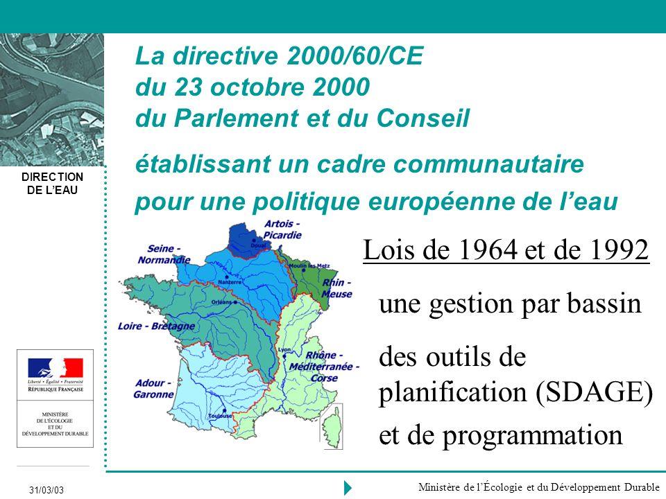 La directive 2000/60/CE du 23 octobre 2000 du Parlement et du Conseil