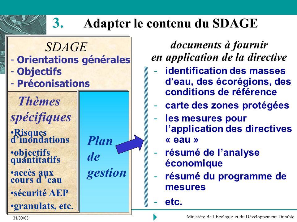 Adapter le contenu du SDAGE