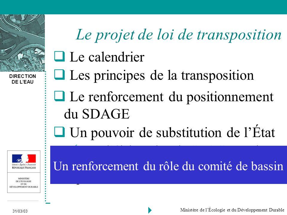 Le projet de loi de transposition