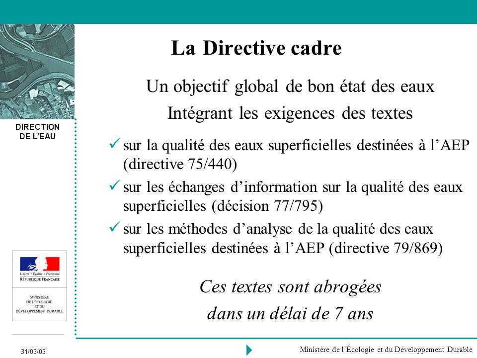 La Directive cadre Un objectif global de bon état des eaux