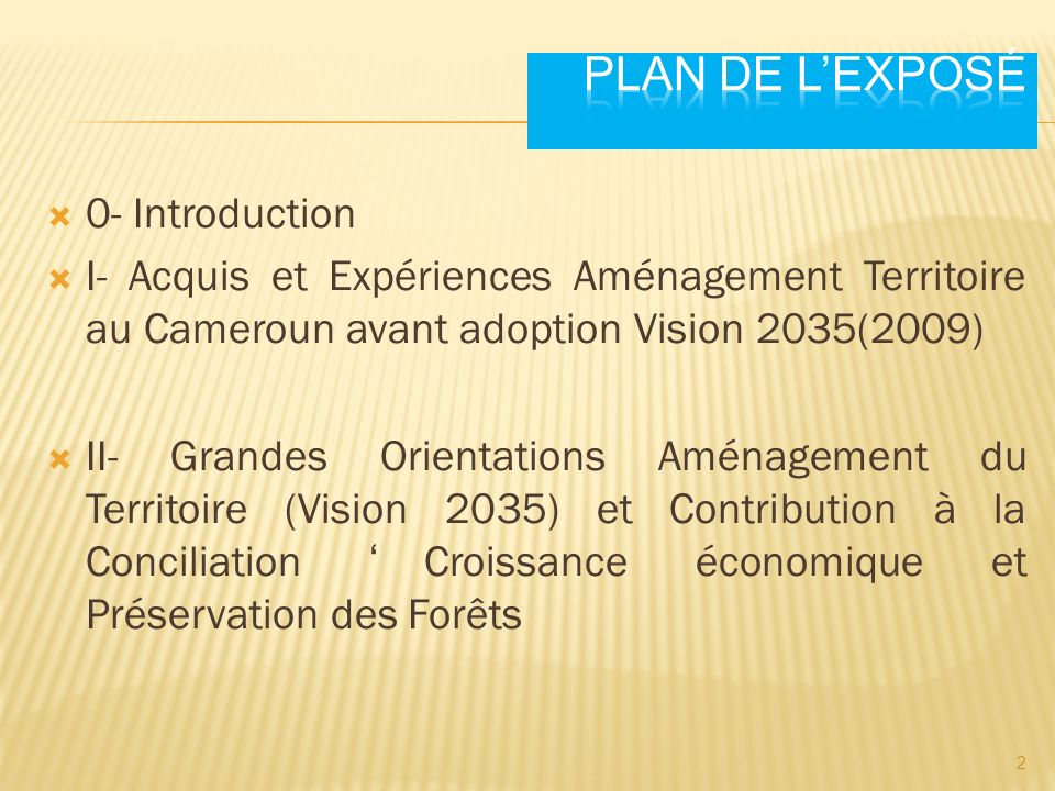 Plan de l'exposé 0- Introduction