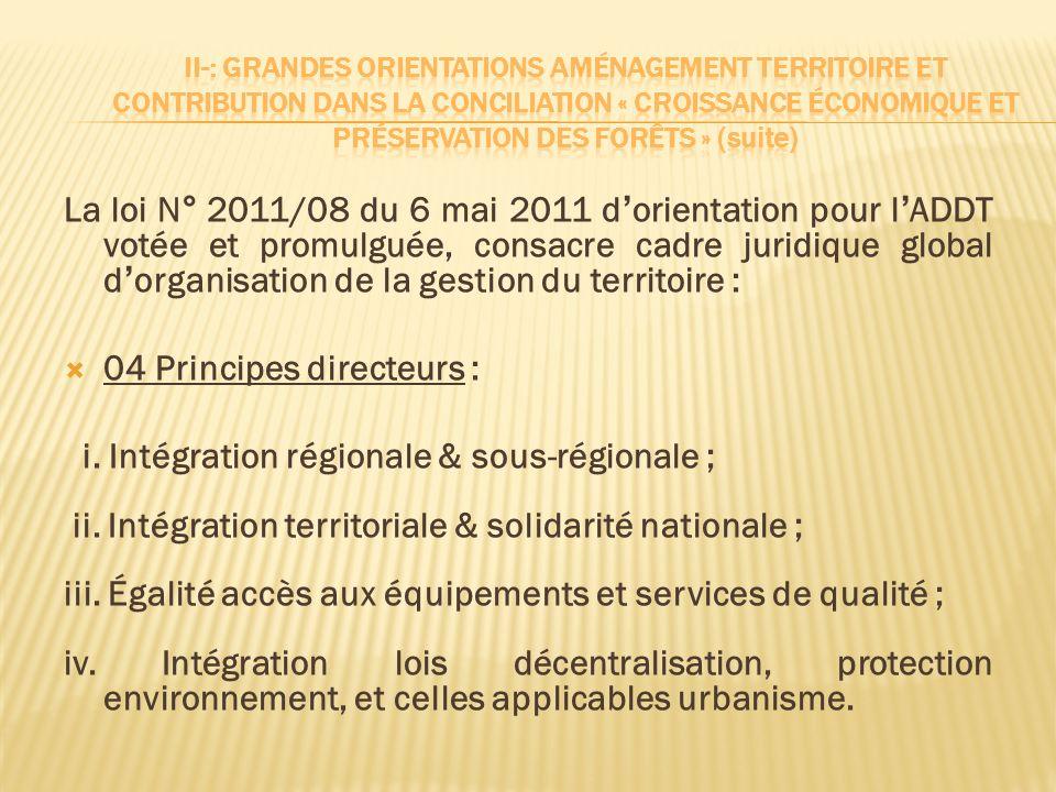 04 Principes directeurs : i. Intégration régionale & sous-régionale ;