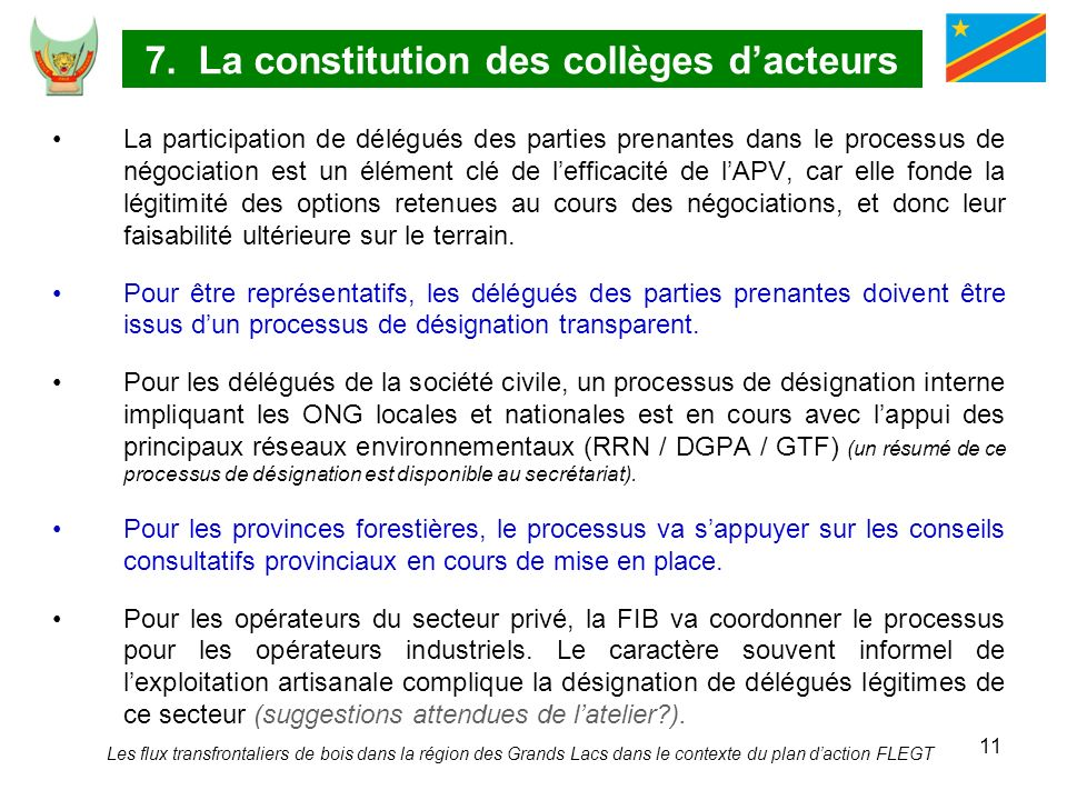 7. La constitution des collèges d'acteurs