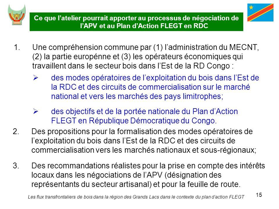 Ce que l'atelier pourrait apporter au processus de négociation de l'APV et au Plan d'Action FLEGT en RDC
