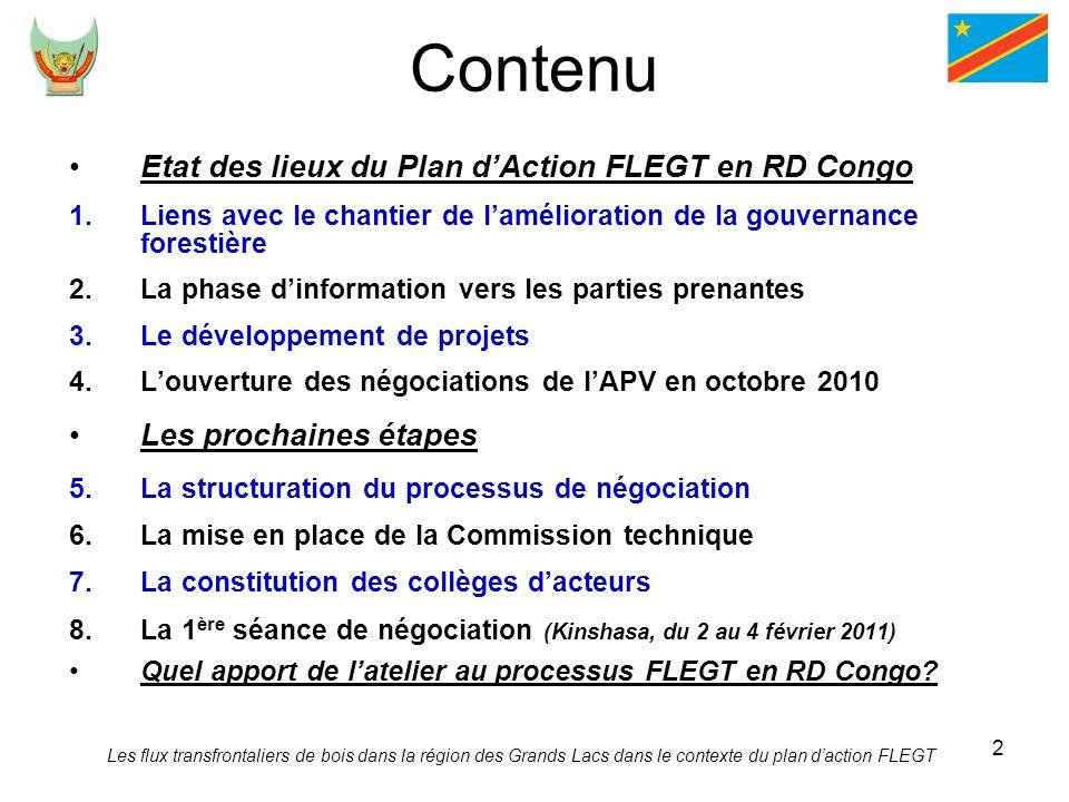 Contenu Etat des lieux du Plan d'Action FLEGT en RD Congo