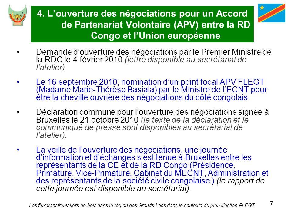 4. L'ouverture des négociations pour un Accord de Partenariat Volontaire (APV) entre la RD Congo et l'Union européenne