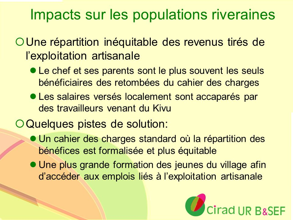 Impacts sur les populations riveraines