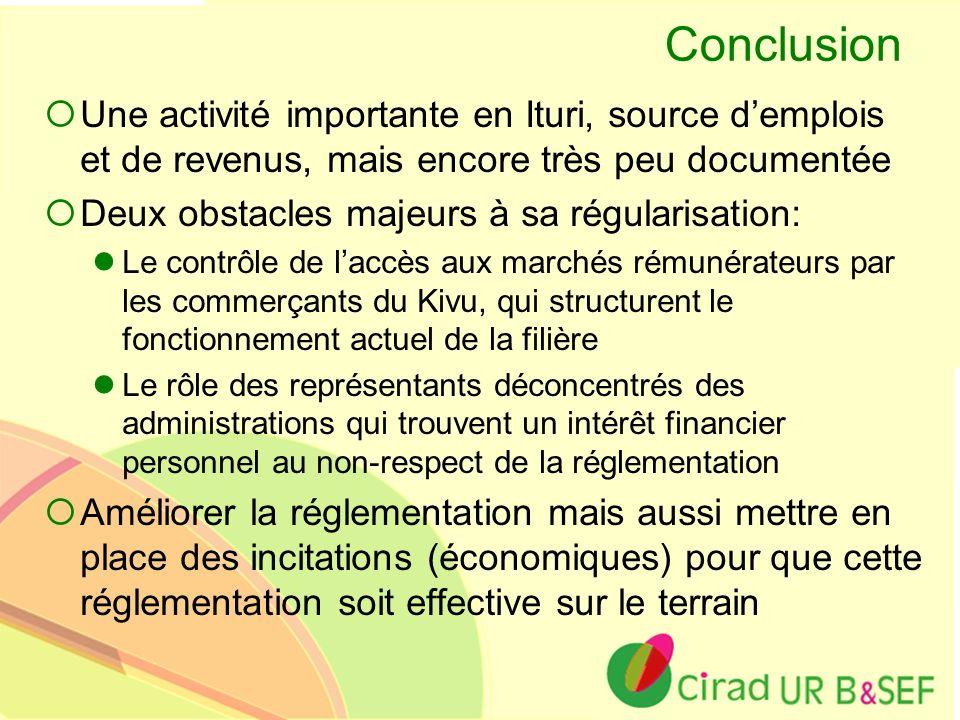 Conclusion Une activité importante en Ituri, source d'emplois et de revenus, mais encore très peu documentée.