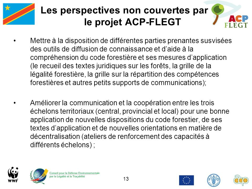 Les perspectives non couvertes par le projet ACP-FLEGT