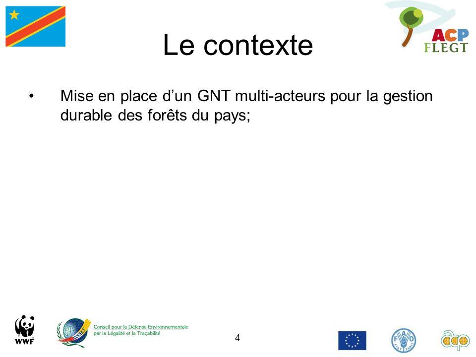 Le contexte Mise en place d'un GNT multi-acteurs pour la gestion durable des forêts du pays;