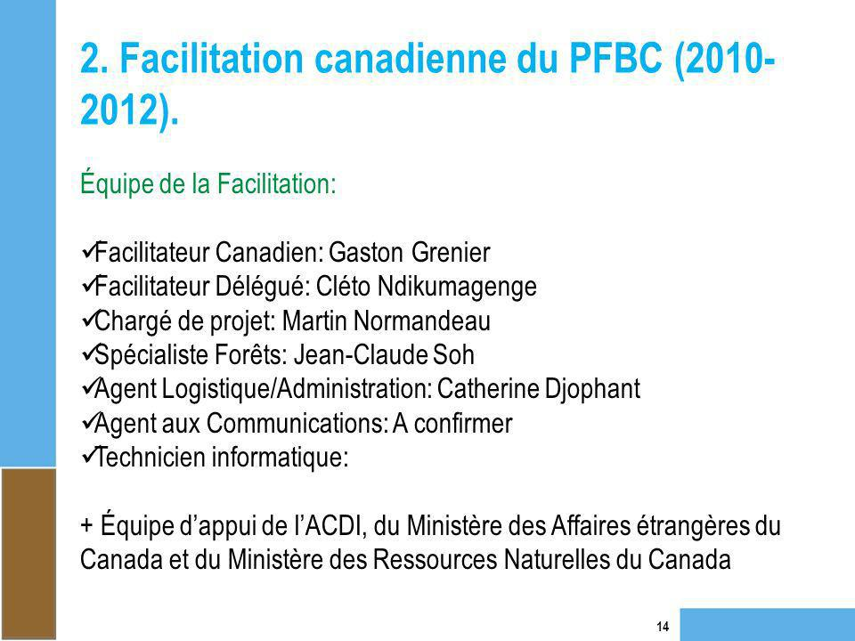 2. Facilitation canadienne du PFBC (2010-2012).