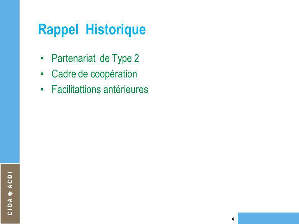 Rappel Historique Partenariat de Type 2 Cadre de coopération