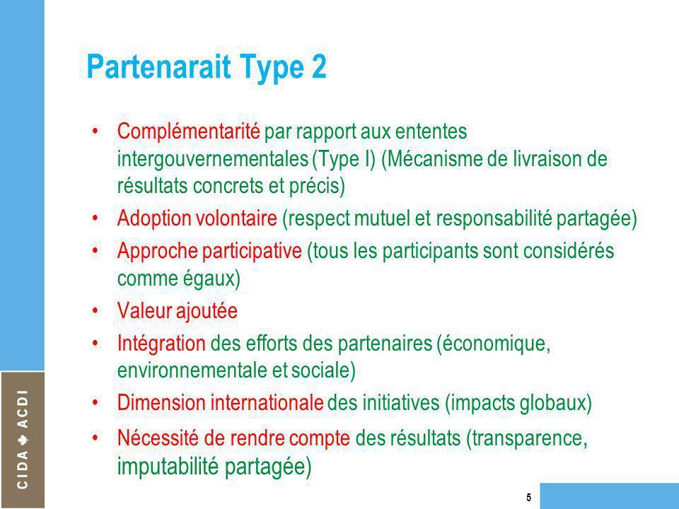 Partenarait Type 2 Complémentarité par rapport aux ententes intergouvernementales (Type I) (Mécanisme de livraison de résultats concrets et précis)