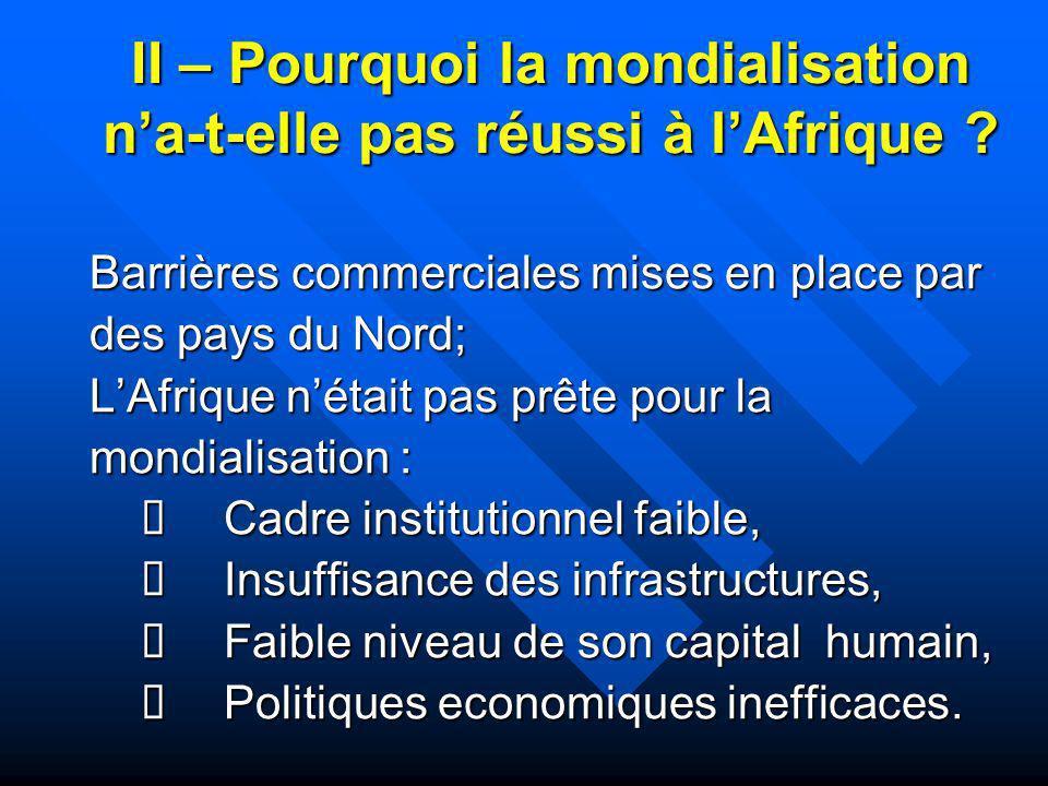 II – Pourquoi la mondialisation n'a-t-elle pas réussi à l'Afrique
