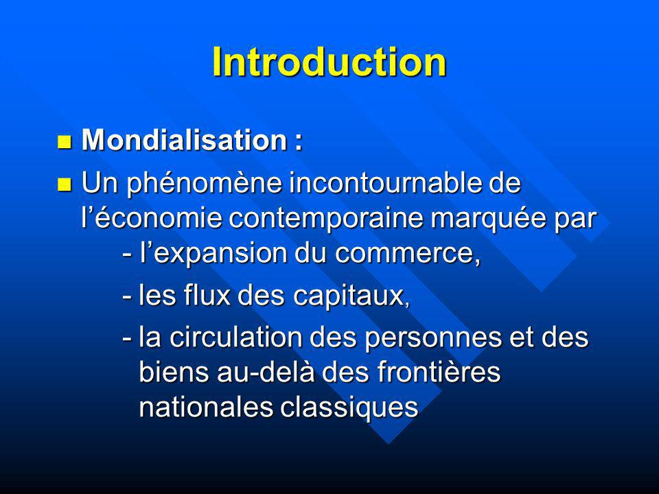 Introduction Mondialisation :