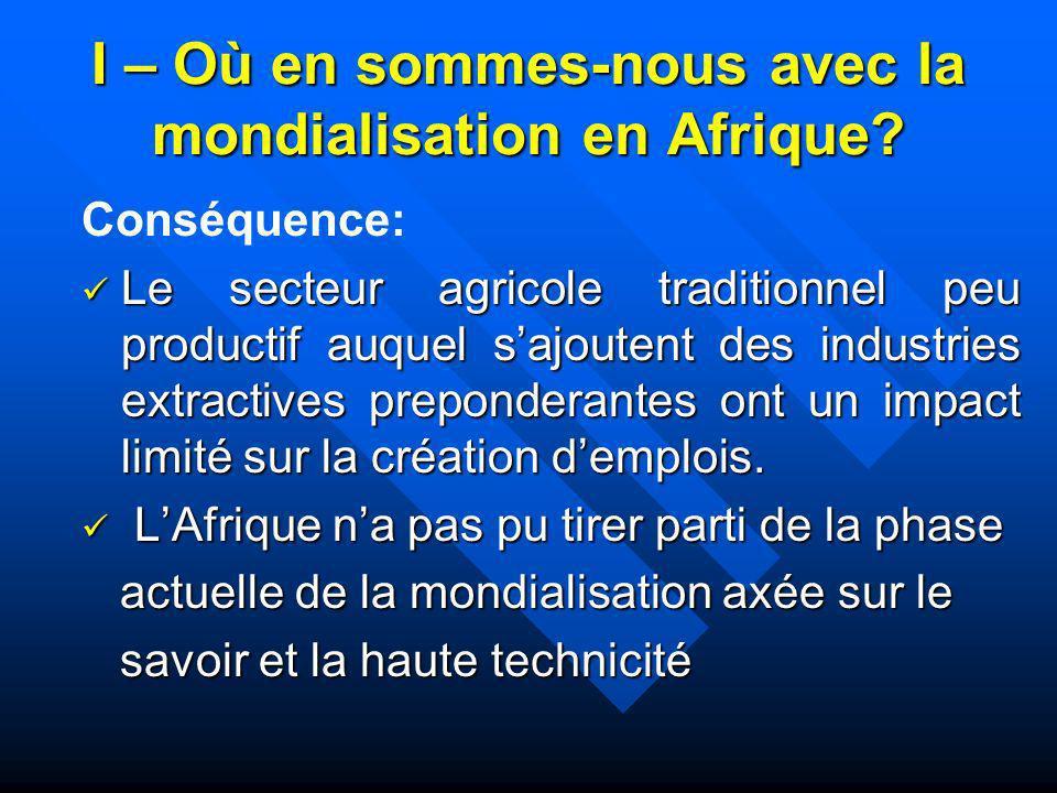 I – Où en sommes-nous avec la mondialisation en Afrique