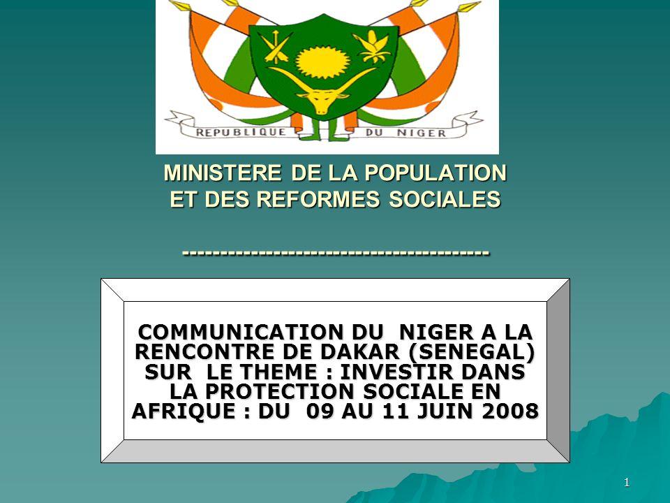 MINISTERE DE LA POPULATION ET DES REFORMES SOCIALES -----------------------------------------
