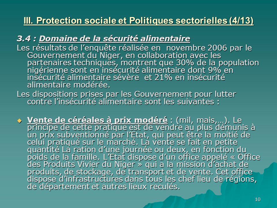 III. Protection sociale et Politiques sectorielles (4/13)