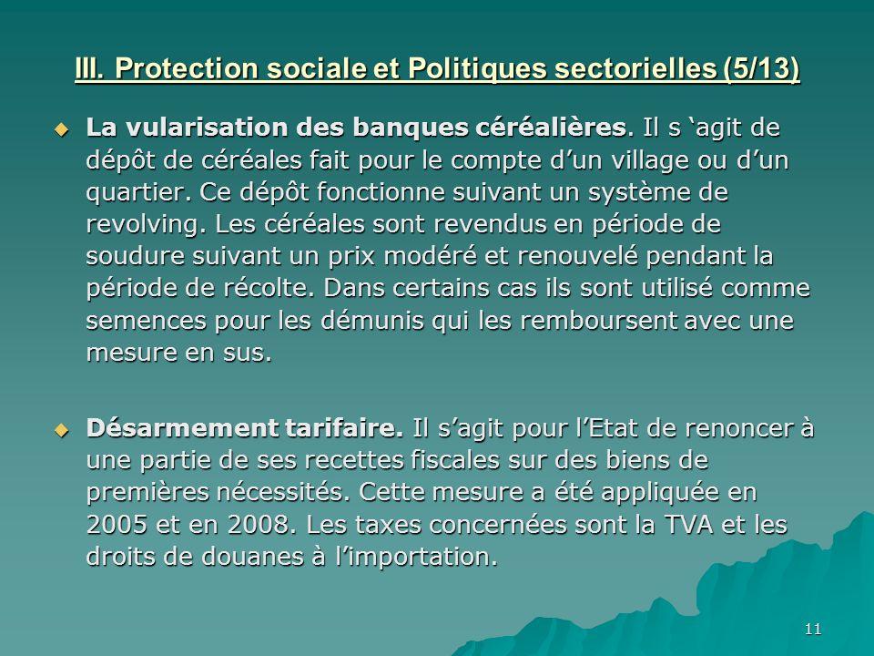 III. Protection sociale et Politiques sectorielles (5/13)