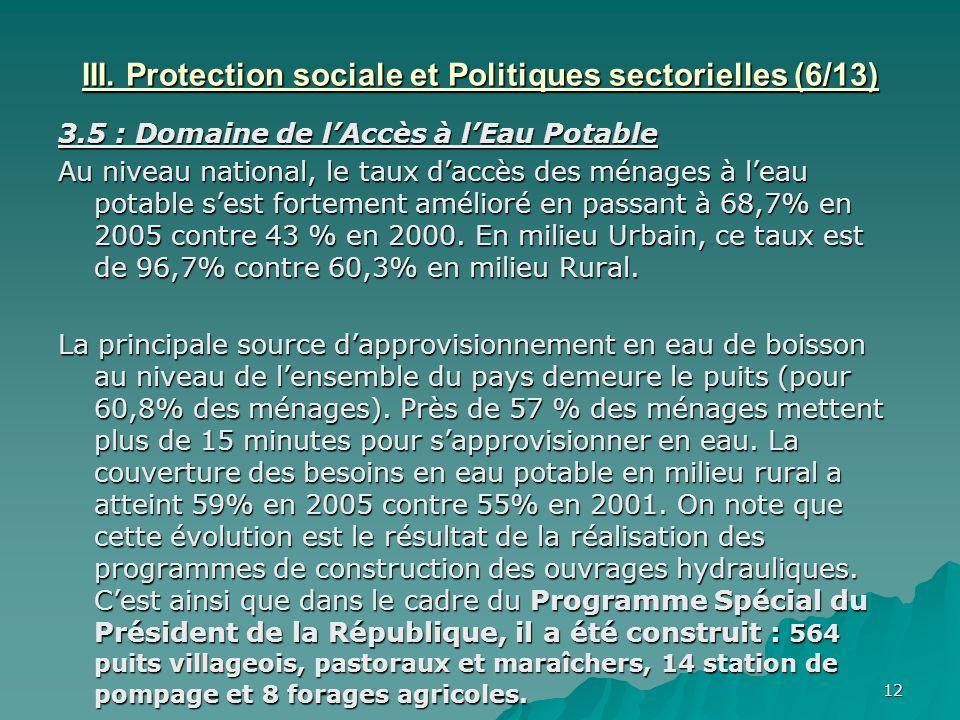 III. Protection sociale et Politiques sectorielles (6/13)