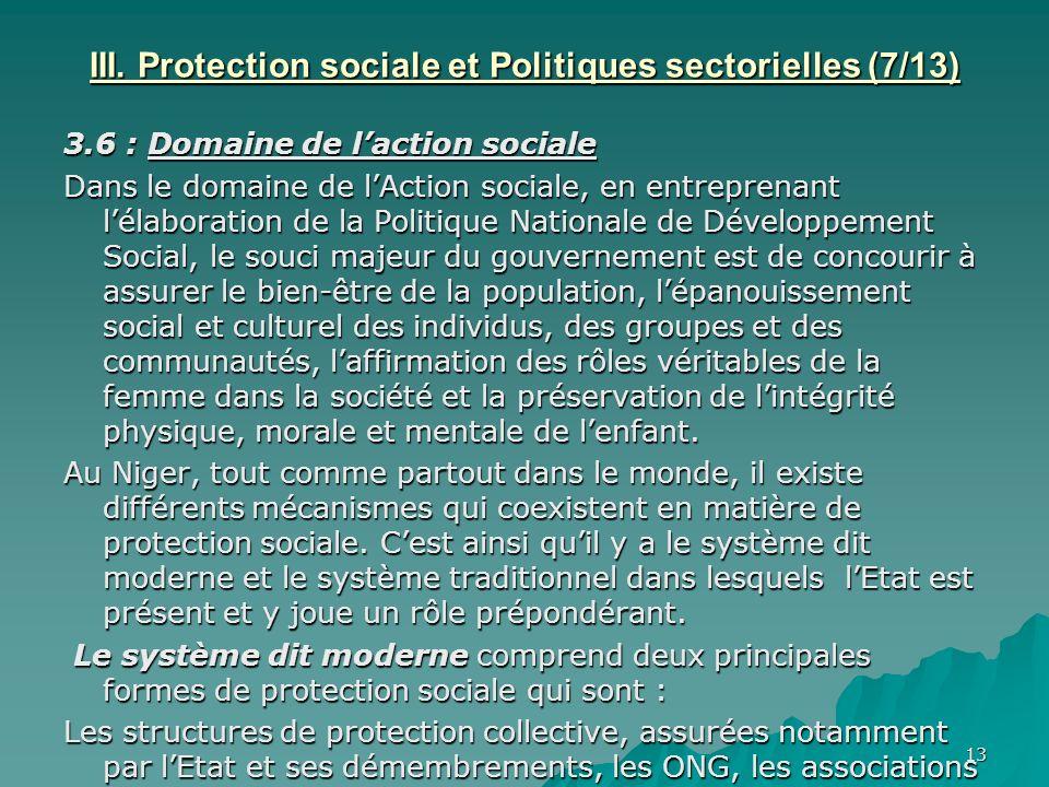 III. Protection sociale et Politiques sectorielles (7/13)