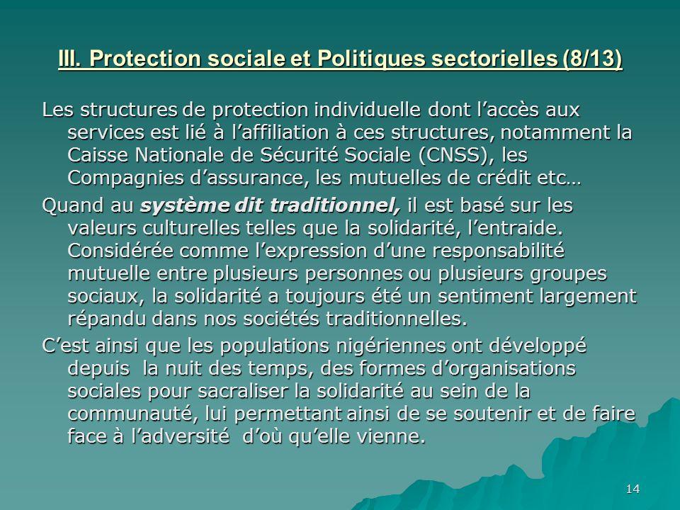 III. Protection sociale et Politiques sectorielles (8/13)