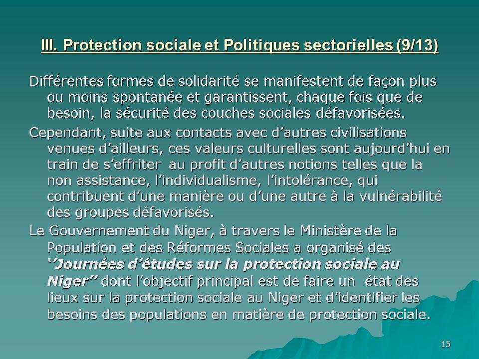 III. Protection sociale et Politiques sectorielles (9/13)