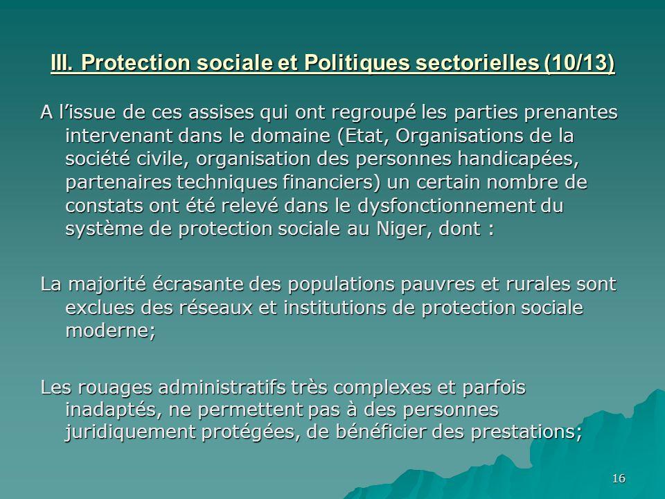 III. Protection sociale et Politiques sectorielles (10/13)