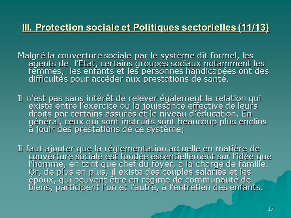 III. Protection sociale et Politiques sectorielles (11/13)
