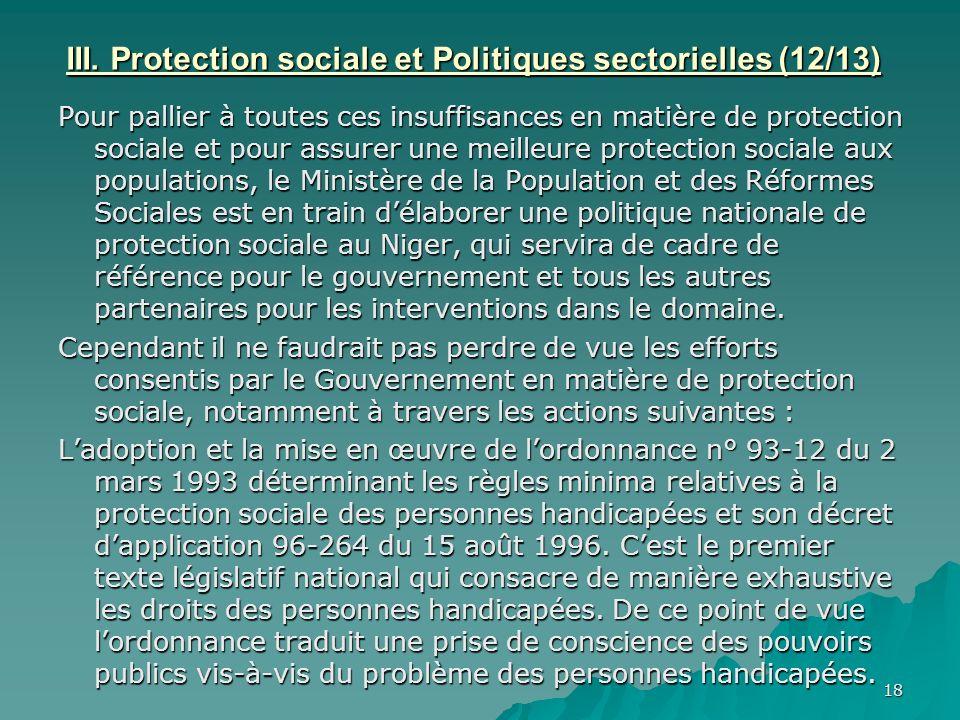 III. Protection sociale et Politiques sectorielles (12/13)
