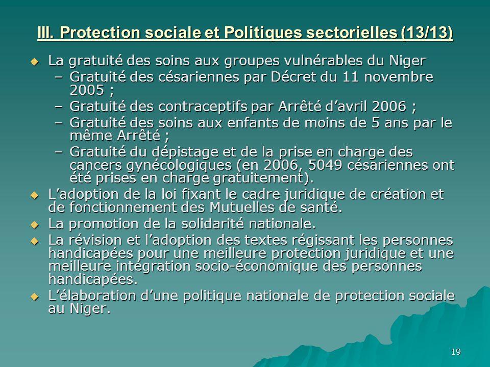III. Protection sociale et Politiques sectorielles (13/13)
