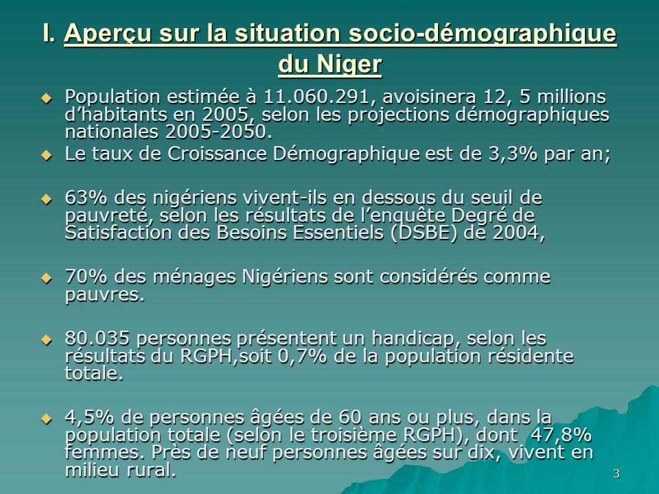 I. Aperçu sur la situation socio-démographique du Niger