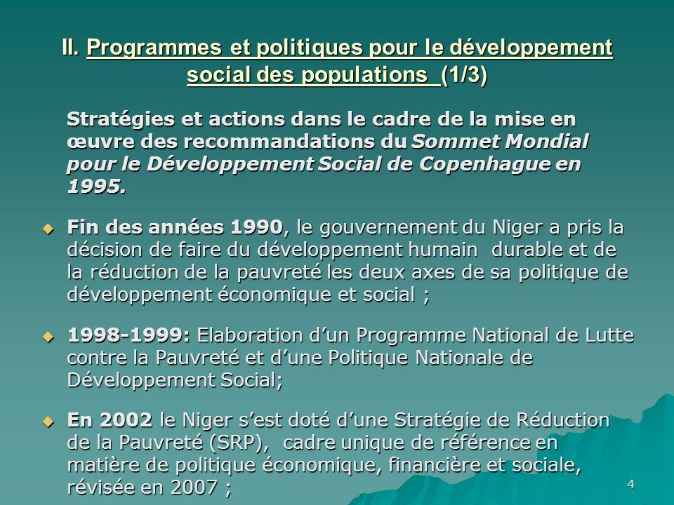 II. Programmes et politiques pour le développement social des populations (1/3)