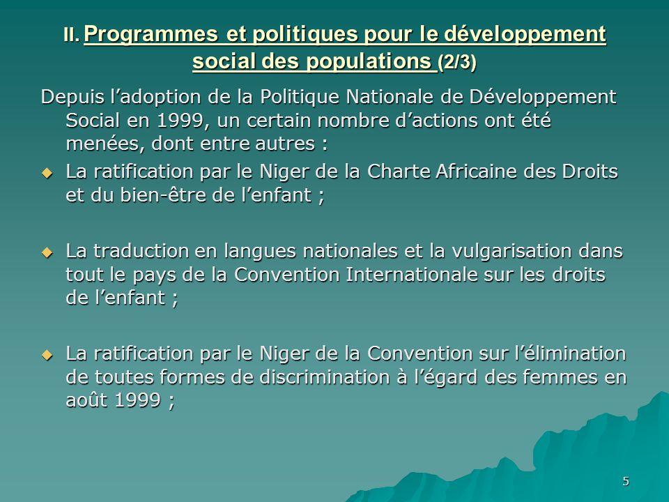 II. Programmes et politiques pour le développement social des populations (2/3)