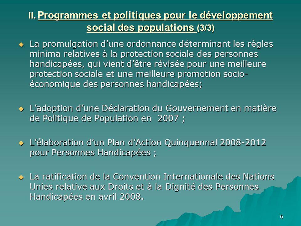 II. Programmes et politiques pour le développement social des populations (3/3)