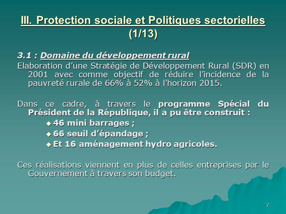 III. Protection sociale et Politiques sectorielles (1/13)