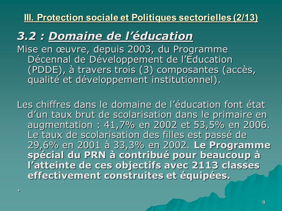 III. Protection sociale et Politiques sectorielles (2/13)